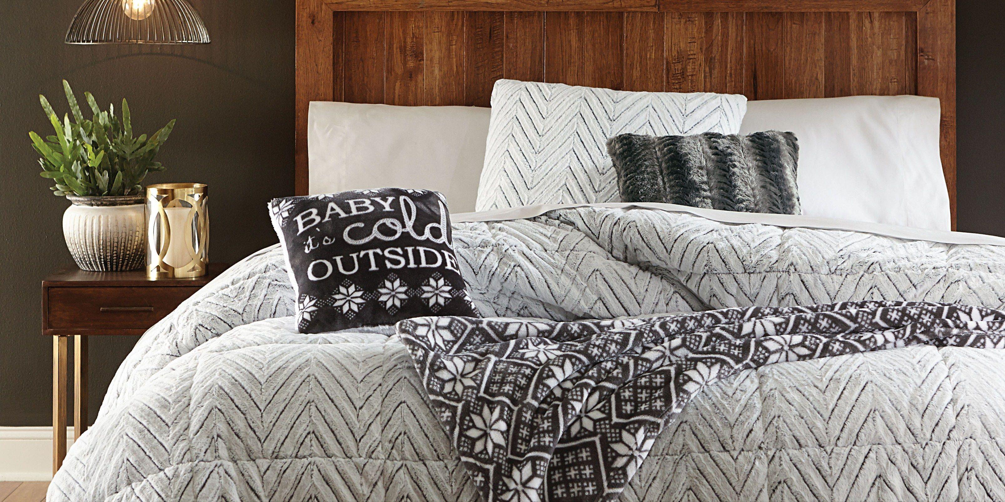 Full/Queen Faux Fur Comforter Chevron 45 OFF Fur