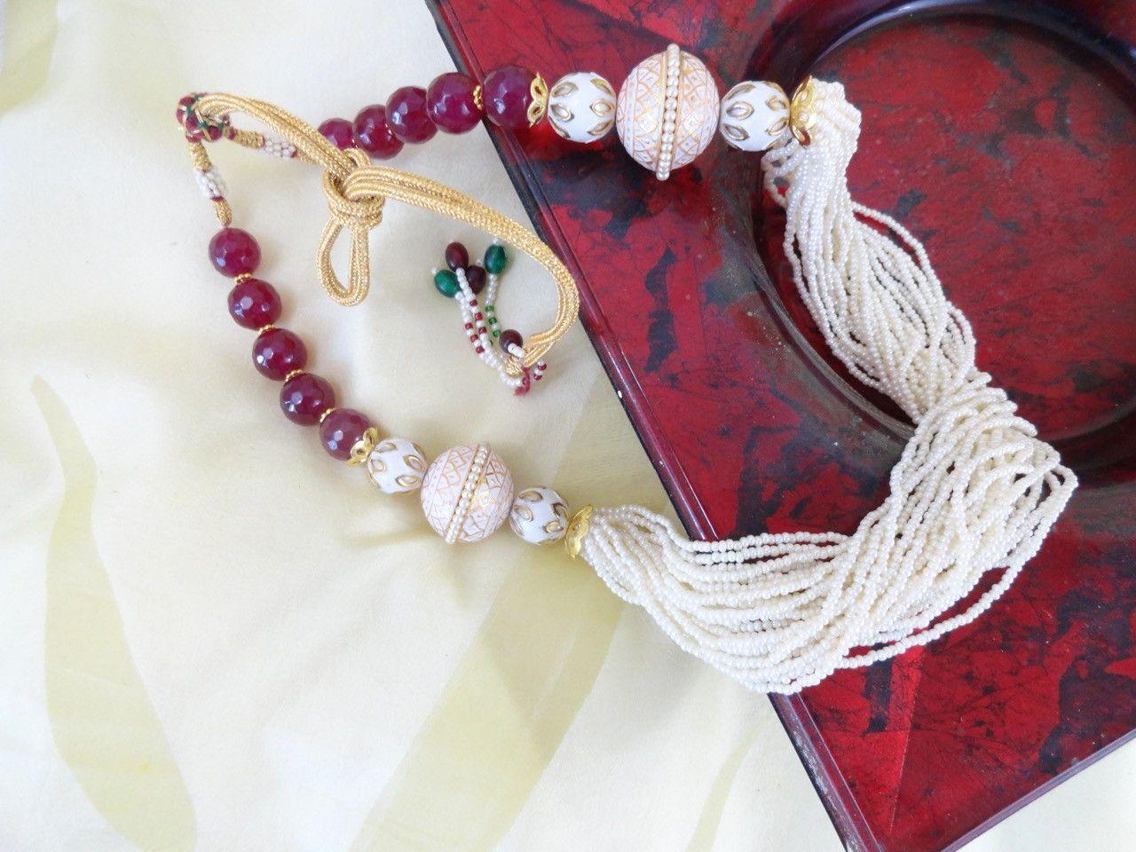 Meenakari statement chain from India. Indian bead and minakari necklace jewelry. Handmade party wear jewelry. Artikrti.
