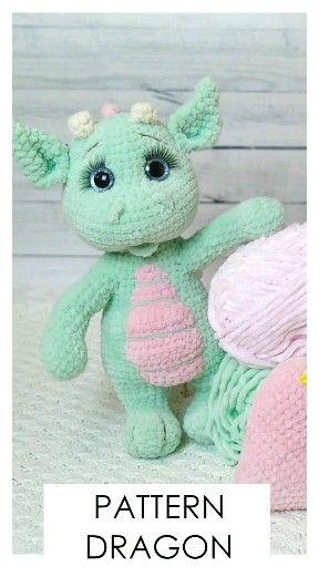 Photo of Dragon plush pattern. Crochet dragon pattern. Dragon baby Amigurumi toys