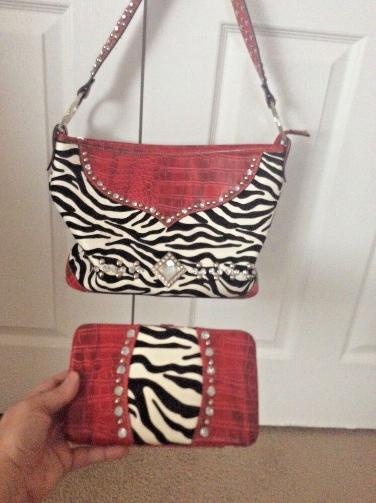 Red Zebra Print Handbag Animal Print Purse Black White Wallet