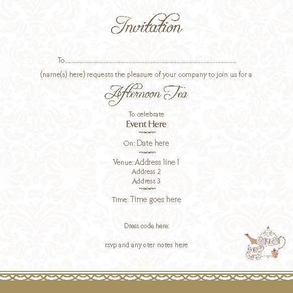 Afternoon Tea Invites Invitation Blank Afternoon Tea Page 1