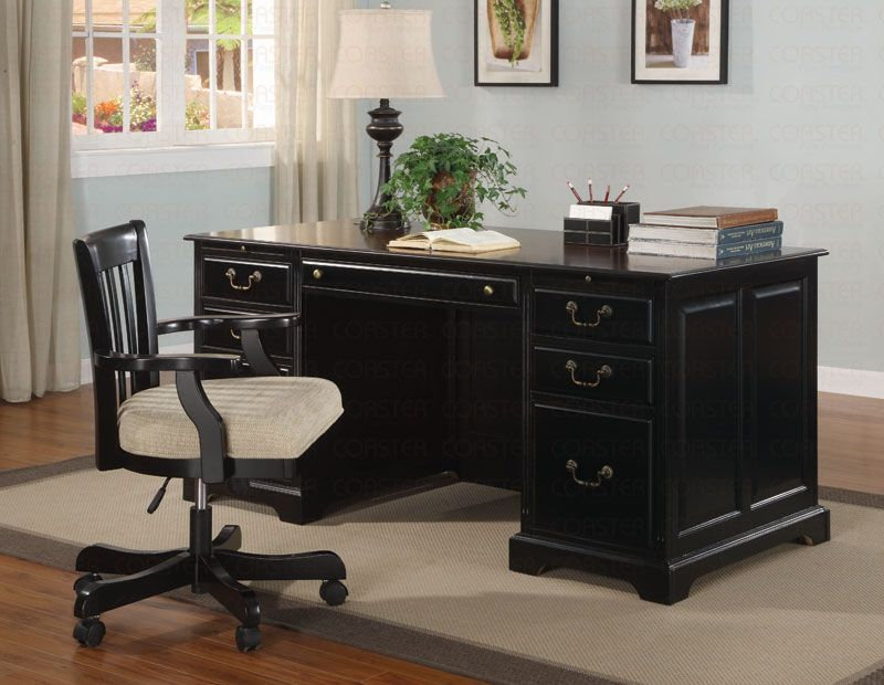 Executive Home Office Desks With Black Shine Wooden Home Office Desk With  Hutch And Drawer And Black Modern Chairs With Fabric Seating