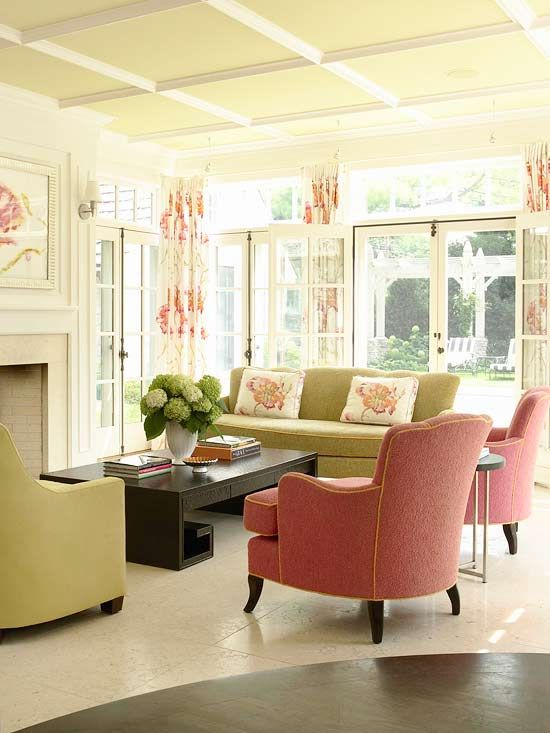 Decorating in Pink Trim work Pillow fabric and Drapery panels