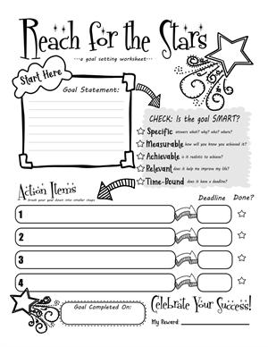 Free pdf printable SMART goals worksheet for kids or