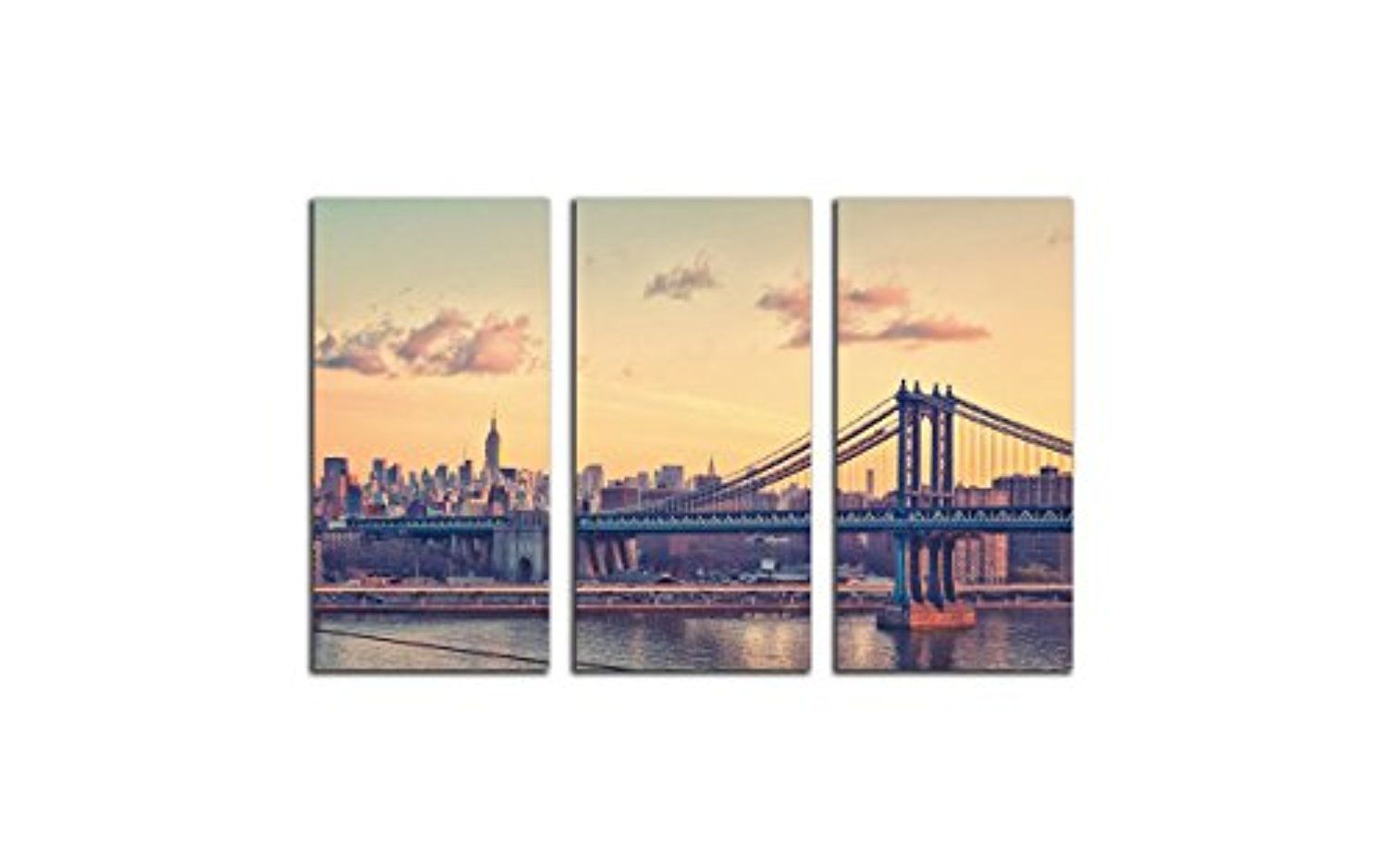 NAN Wind 3 Panels Art Modern Poster New York City Sunset Skyline ...
