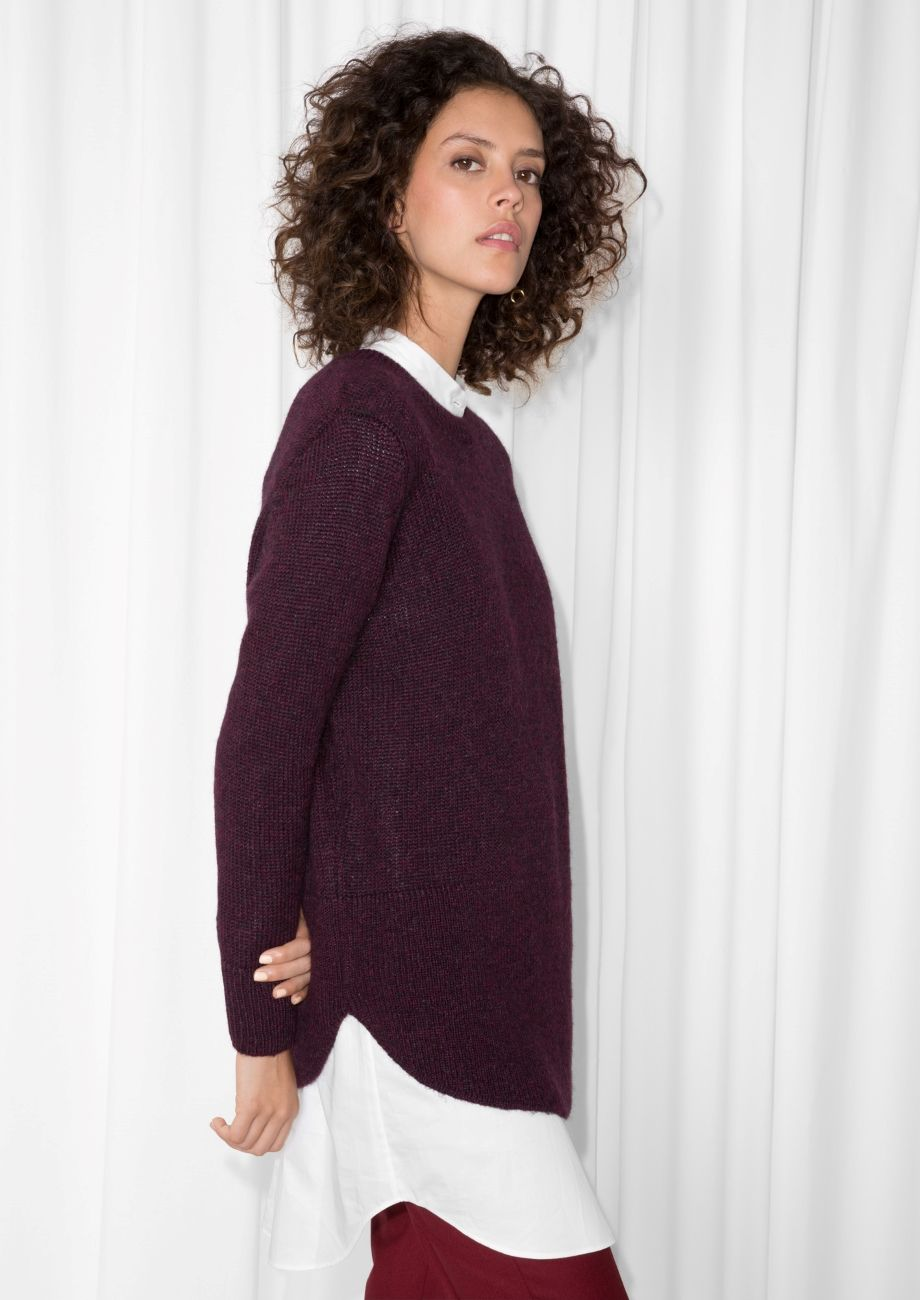 64e123d4bb25   Other Stories image 1 of Alpaca-Blend Sweater in Burgundy ...