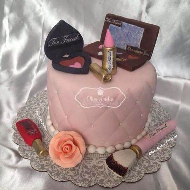 Too Faced cosmetics birthday cake by Olive Amelia Creations in NYC