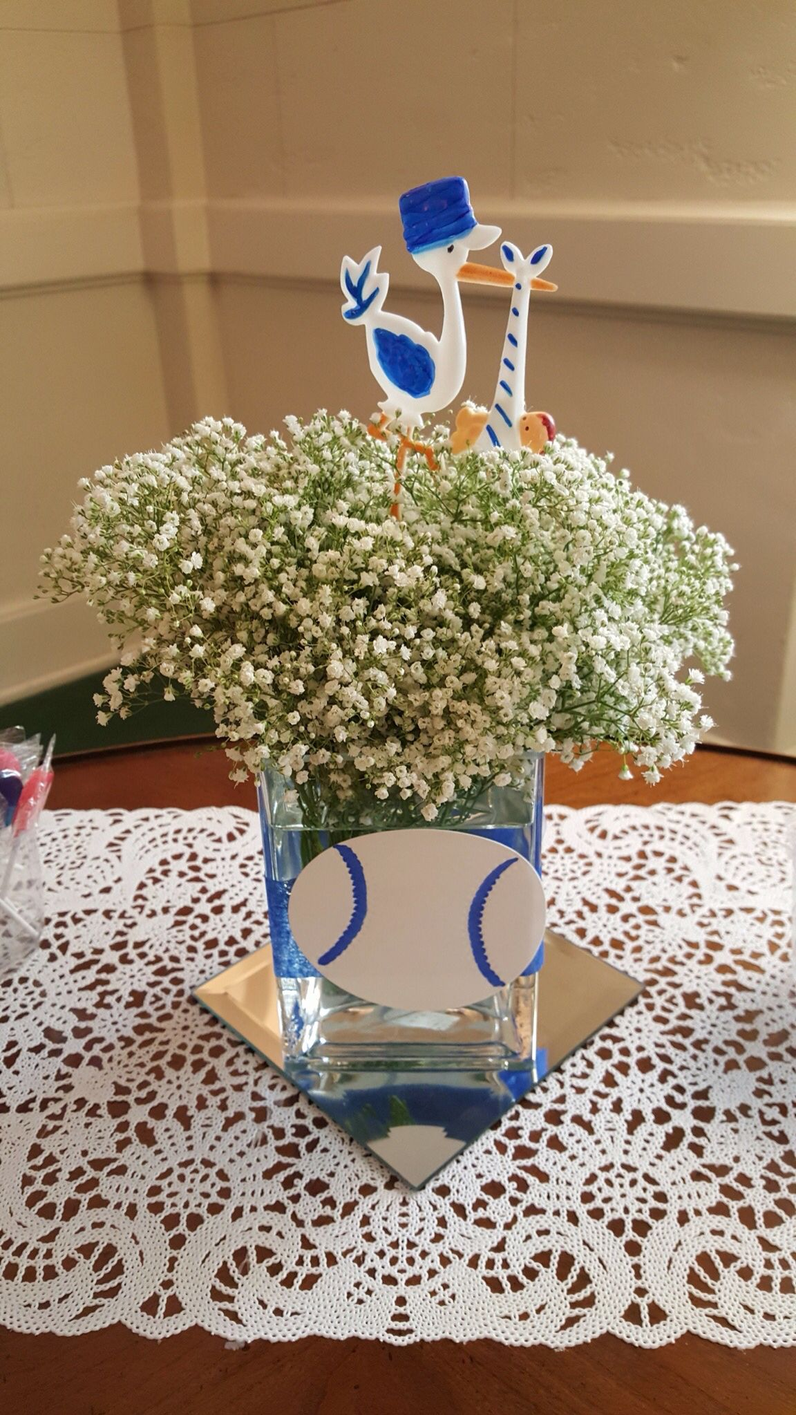 simple centerpiece made by elegant times bows or baseball theme rh pinterest com
