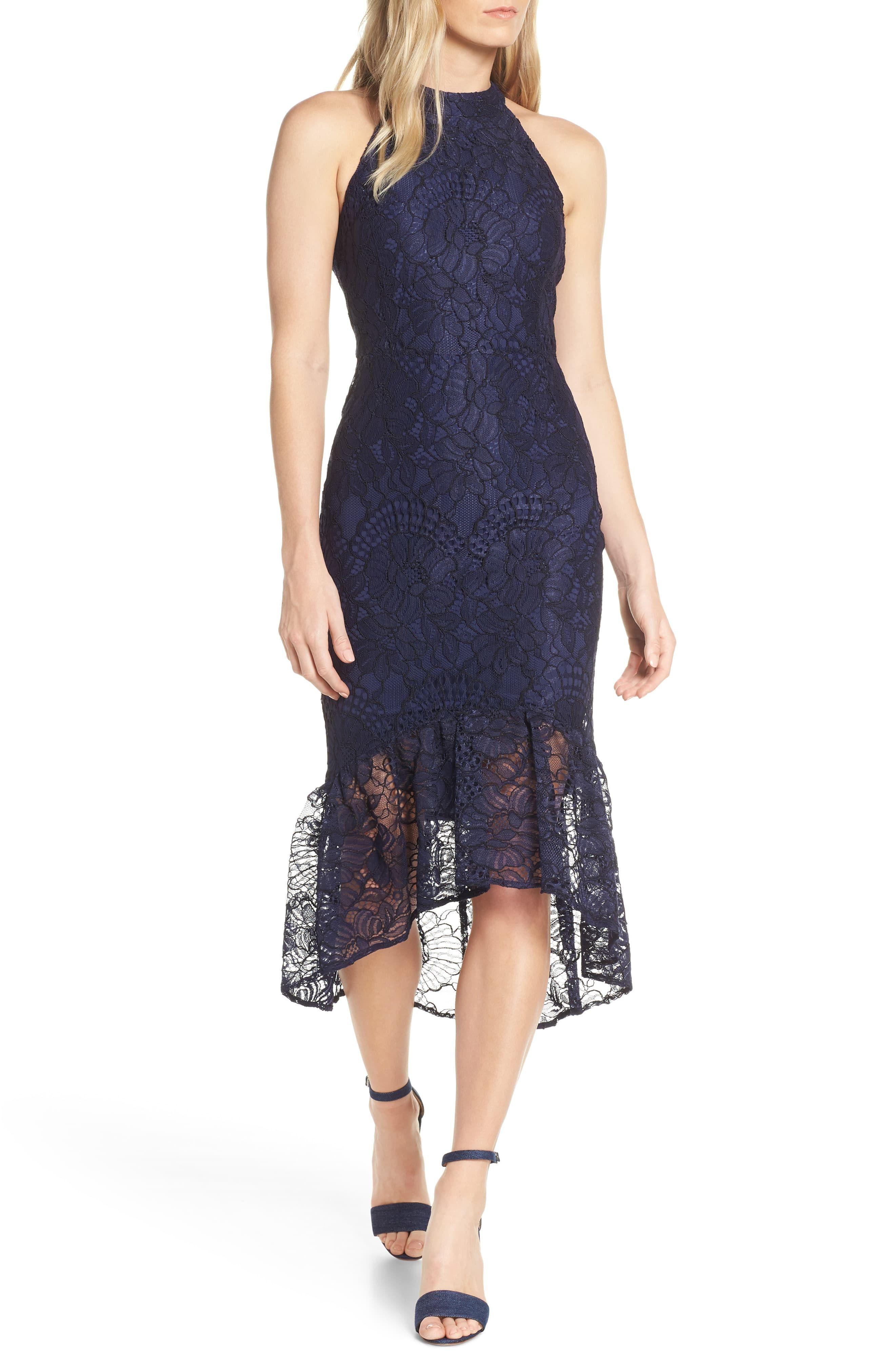 Chelsea28 Womens Halter High Low Maxi Dress Blue Floral Size Medium