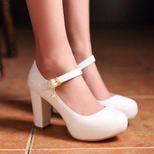 Buckle Round Toe Shoes | Heels, Pumps heels, Chunky heel pumps