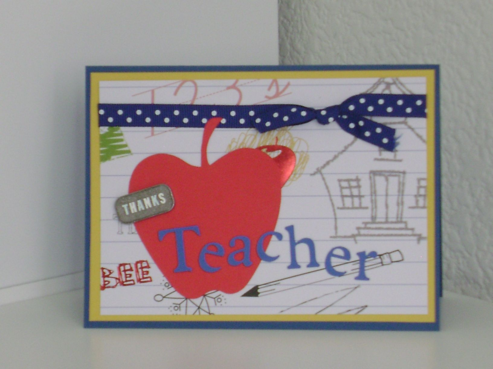 Need to thank a teacher? Here is the perfect card! See it at itshandmadewithlove.com