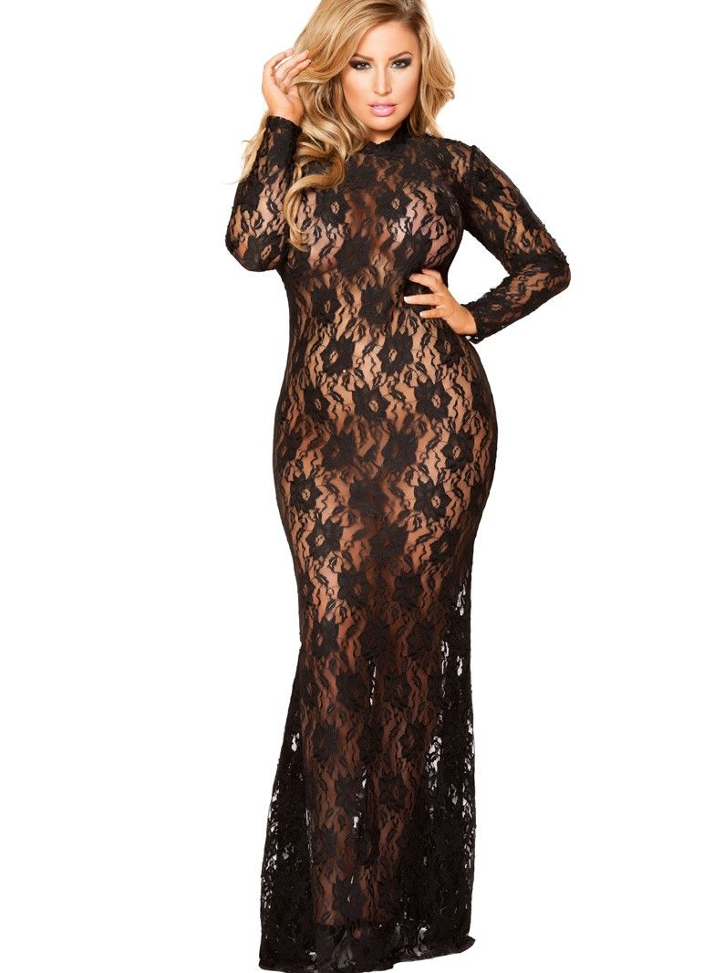 Plus Size Stretch Lace Lingerie Gown W  Long Sleeves 6fcf55c35