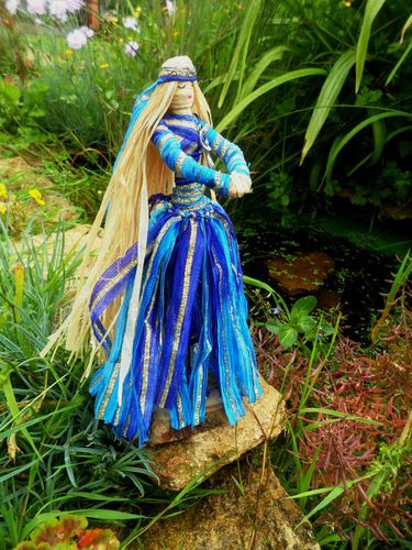 Pagan Goddess Priestess Of Avalon Corn Dolly. Lady of the Lake Altar figure. Handmade