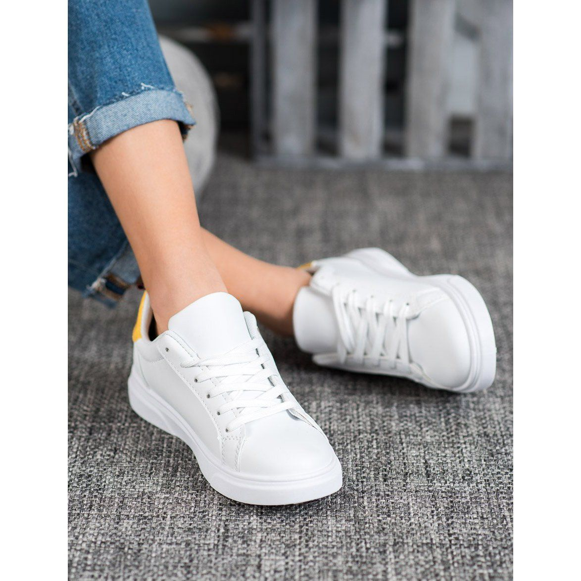 Shelovet Sportowe Buty Z Ozdobnym Suwakiem Biale Adidas Stan Smith Adidas Sneakers Sneakers