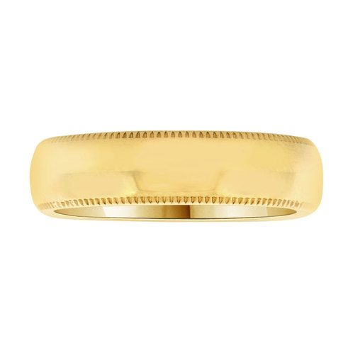 14k Yellow Gold, Classic Milgrain Plain Polished Band Ring 5mm Width (R023-000)