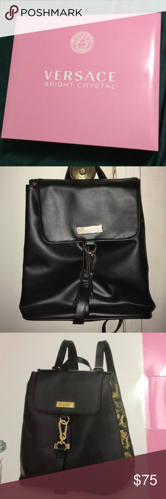 Versace Parfums Black Backpack Black Backpack Versace Bag Versace
