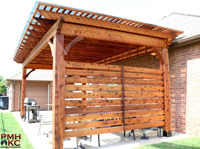 Stand Alone Cedar Pergola With Privacy Wall Okc Pergola Pergola Diy Pergola Modern Pergola Screen Pergola Wal In 2020 Outdoor Remodel Pergola Building A Pergola