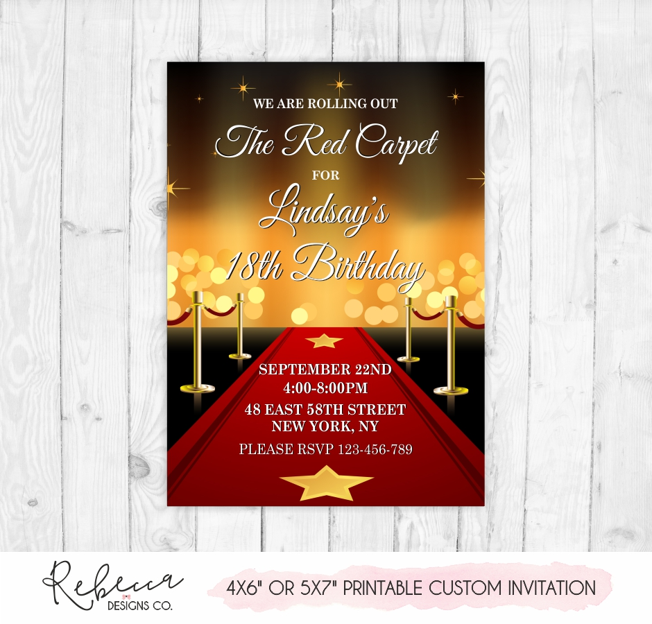 Red Carpet Birthday Invitation Printable Custom Design Etsy