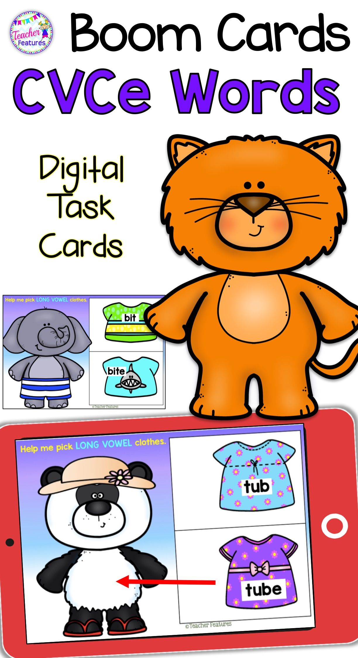 Distance Learning Boom Cards Long Vowels And Cvce Dress The Animals Teacher Features Phonics Vocabulary Skills
