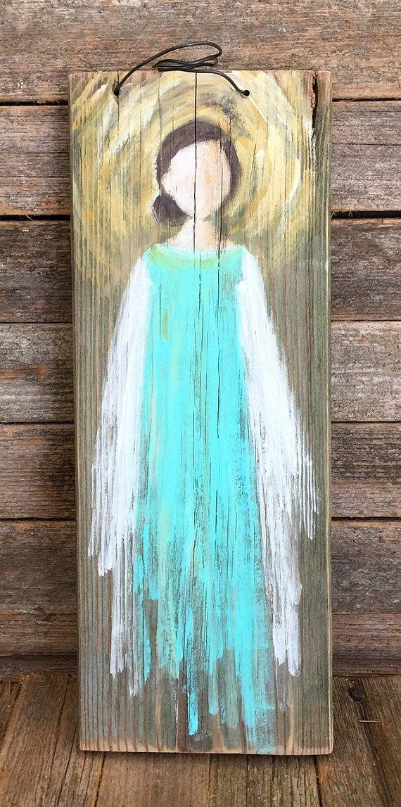 Hand Painted Angel On Reclaimed Wood By Susanhamnerart On