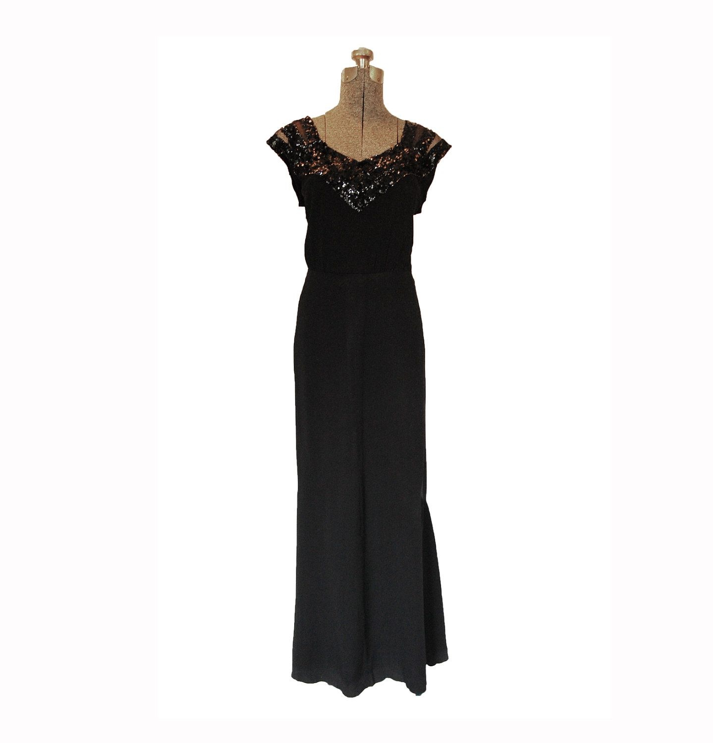 Vintage s s dress designer imagnin black crepe sequined