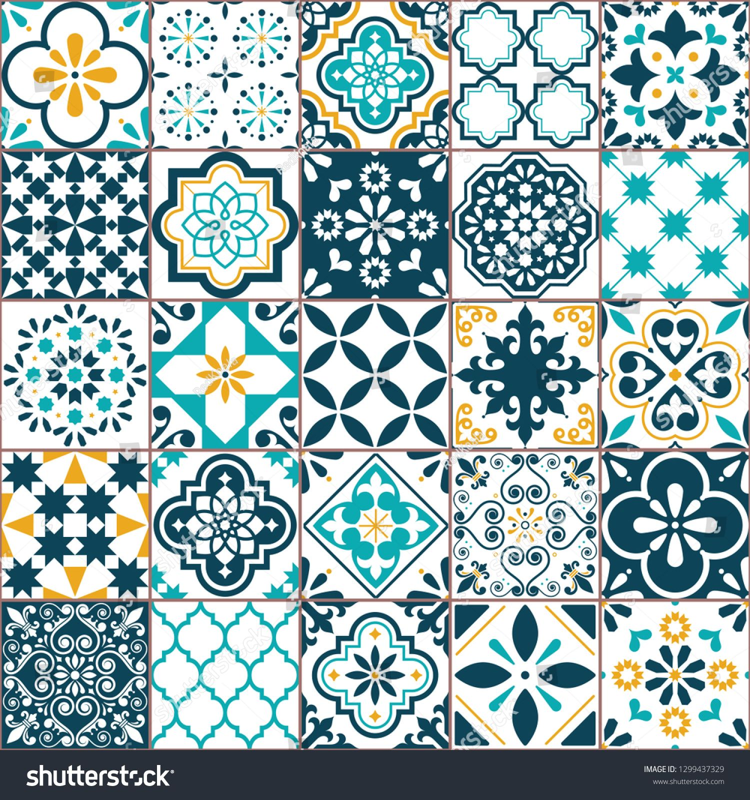 Geometric Azulejo Tile Vector Pattern