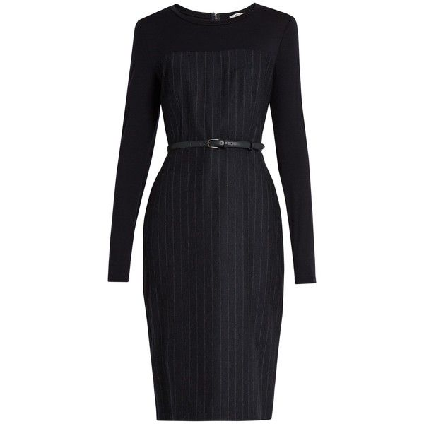 Max Mara Chiffon Dress 795 Liked On Polyvore Featuring Dresses Navy Stripe