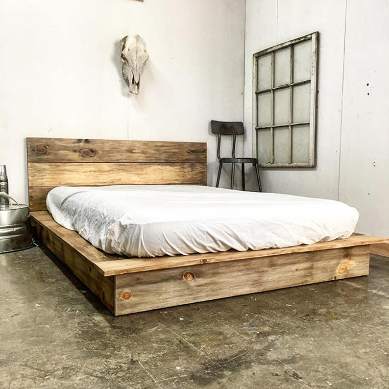 Ol' Weathered Plank Low Pro Rustic Modern Platform Bed