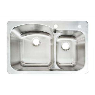 Glacier Bay All In One Dual Mount Stainless Steel 33 In 2 Hole Double Bowl Kitchen Sink Kit With Faucet Vt3322g2 The Home Depot In 2020 Double Bowl Kitchen Sink Stainless Steel Faucets Double