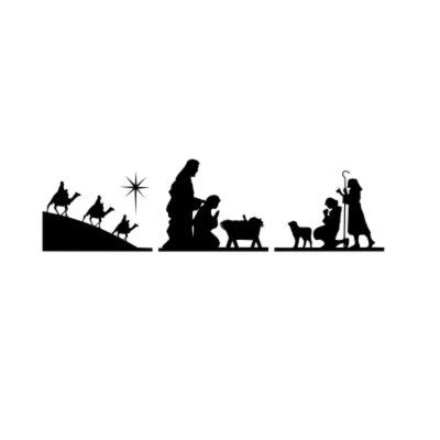 Christmas Decal Three Piece Nativity With Wisemen Shephards Mary - Nativity vinyl decal for glass block light