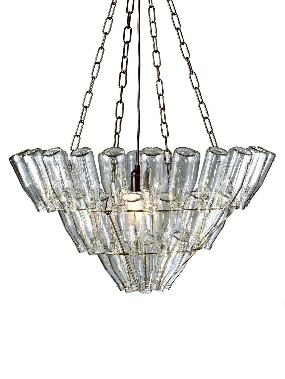 Leitmotiv chrome wine bottle chandelier light as art fixtures leitmotiv chrome wine bottle chandelier arubaitofo Image collections