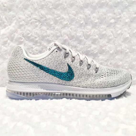 Womens Nike All Out Zoom Low Platinum Grey Custom Bling Crystal Swarovski  Sneakers 7f0c128bfb86