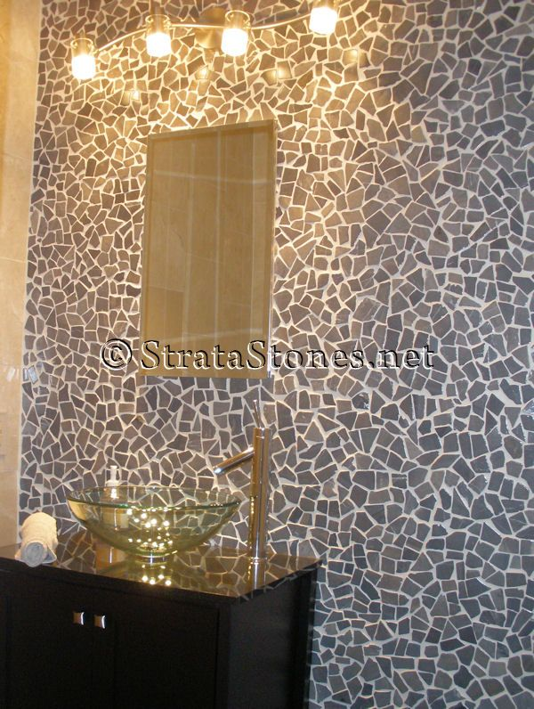 Mosaic Tile Fireplace | Grey Mosaic Pebble Tile Bathroom Wall Picture