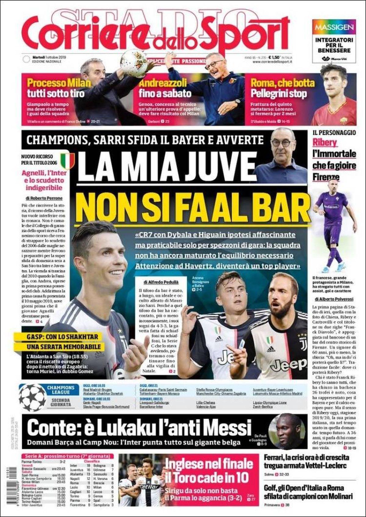 Corriere dello Sport Italia martes 1 de octubre 1
