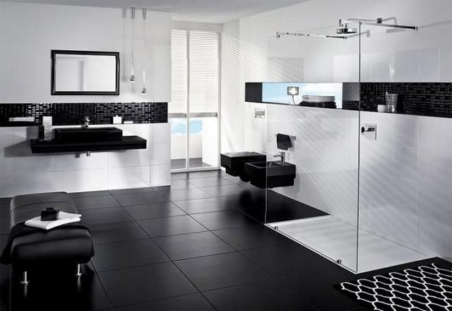 Black And Tan Bathroom: Black And White Tile Bathroom Paint Color