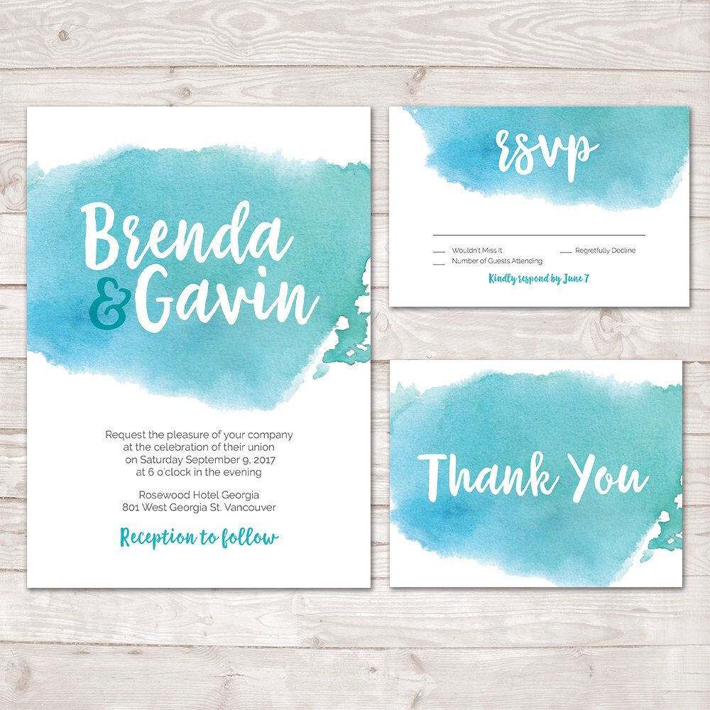 Watercolor Wedding Invitation, Watercolor Invite, Thank you card ...