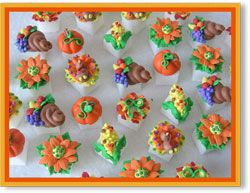 Thanksgiving Bounty Bouquet Hand Decorated Sugar Cubes