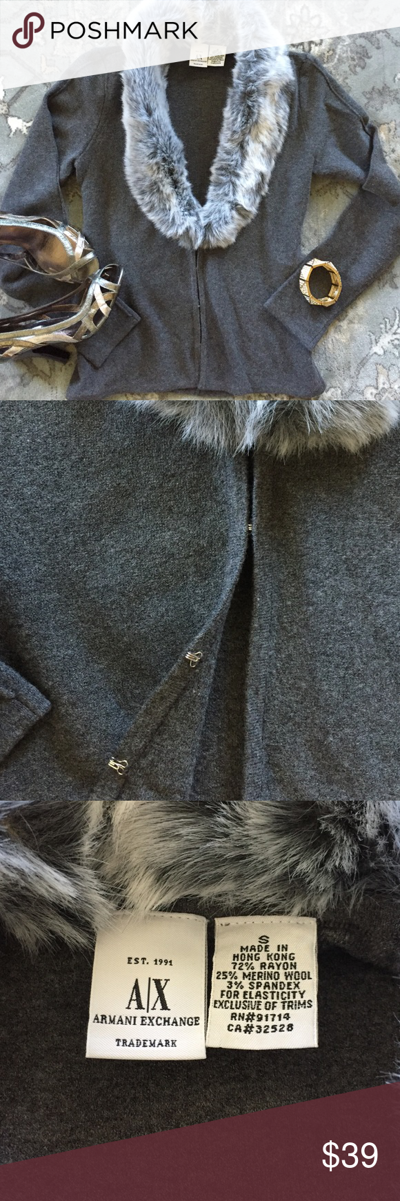 A/X Armani Exchange Faux Fur Collar Cardigan Love, love, love this beautiful gray fitted cardigan. Perfect for all occasions like casual weekends, holidays, or even dress up. Collar is detachable. There is a loop for a belt however never used it do not recall it coming with one....see pic. Can use a skinny belt if like. Size small. Sweaters