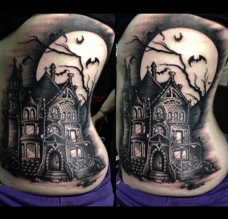 14 creepy cool haunted house tattoos inkedd tatoo 14 creepy cool haunted house tattoos inkedd