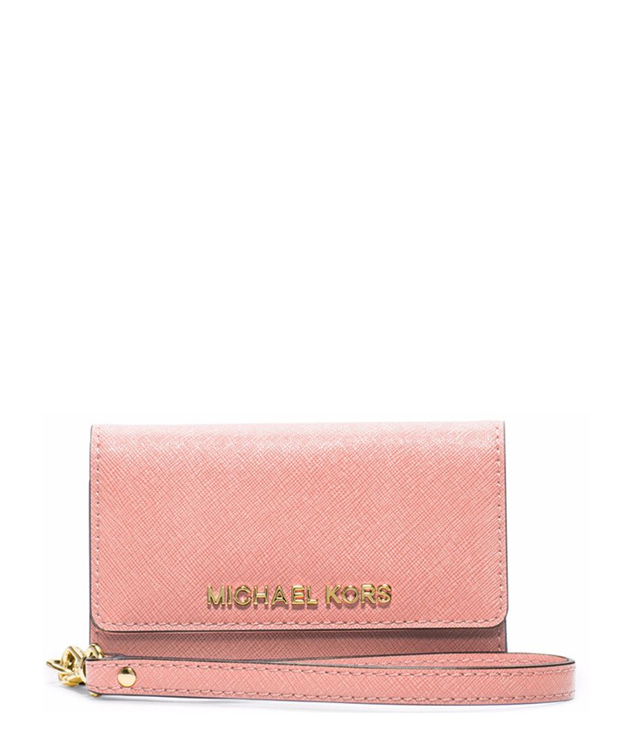 Pale pink leather phone wristlet by Michael Kors on secretsales.com