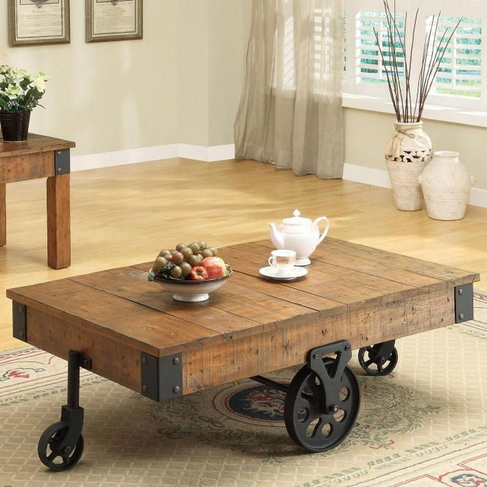 Distressed Wood Country Wagon Coffee Table With Wheels With