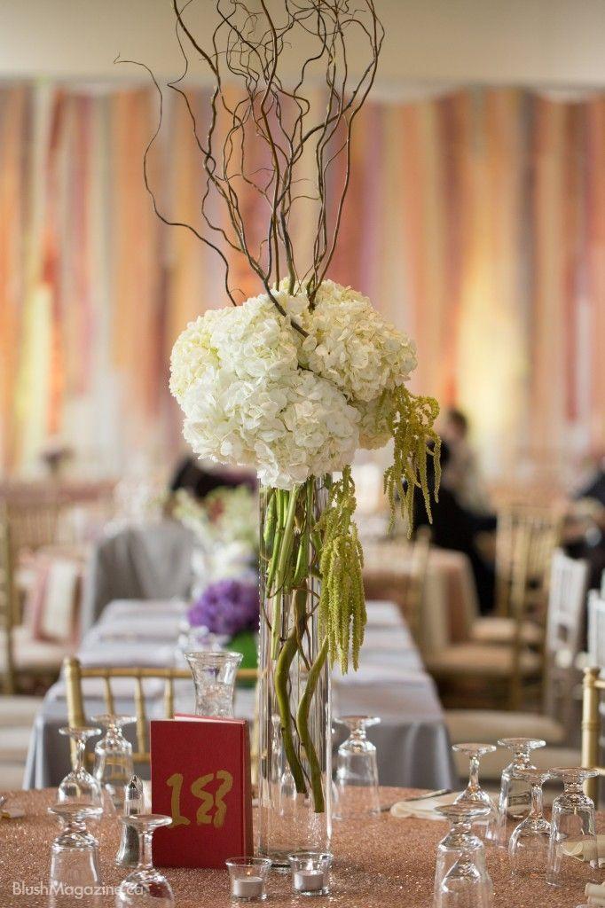 Jamie Gerhardts Whimsical Vintage Wedding Hydrangea Wood Tall Centerpiece