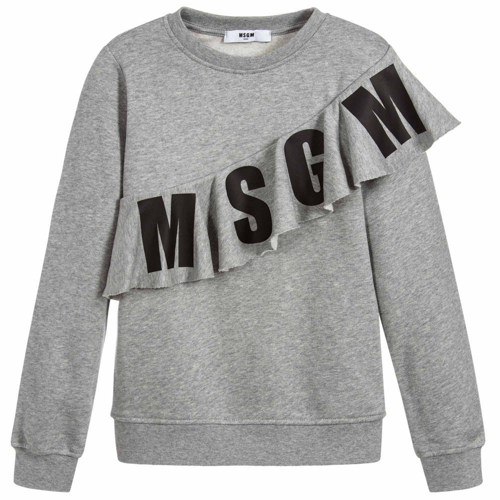 347914c05d7d Grey Cotton Logo Sweatshirt for Girl by MSGM. Discover more ...