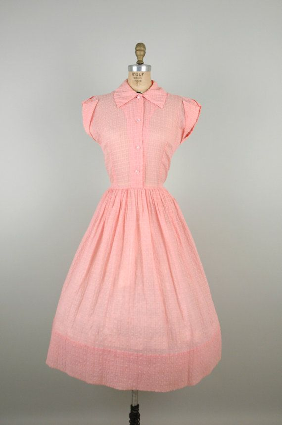 1950s Pink Day Dress / Vintage Sheer Dress | Ponerse, Mi estilo y ...