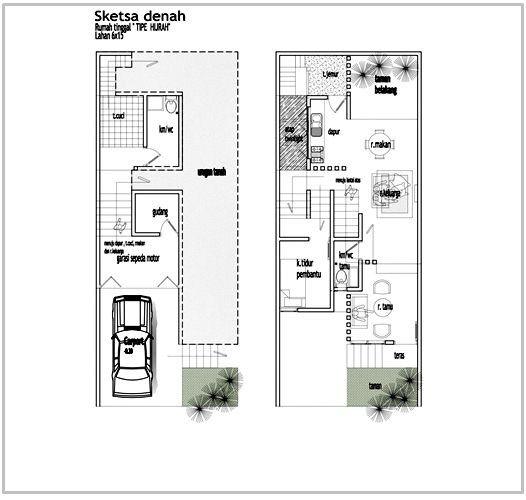 Gambar Contoh Denah Rumah Minimalis 2 Lantai Modern 7 Denah Rumah Rumah Rumah Minimalis