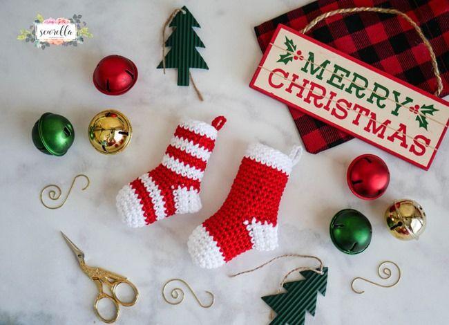 Crochet Mini Stockings Christmas Ornament Christmas Crochet