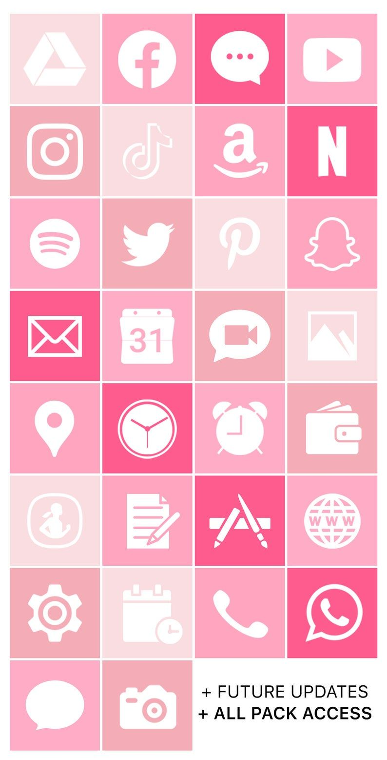 Ios Icon Lifetime All Access Pack Pastel Pink Iphone Ios14 Etsy In 2020 Ios Icon Iphone App Design Pink Iphone