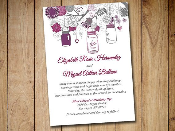 Printable Wedding Invitation Template - Mason Jar Invitation Sangria Wine Gray DIY Wedding Template - Printable Wedding Instant Download by PaintTheDayDesigns
