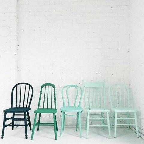 Painted Kitchen Chairs Ombre Blue On White Wall