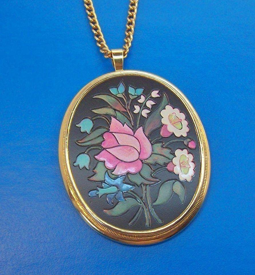 Vintage avon florentine pink green white flowers pendant necklace
